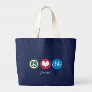 FriedensLiebe u. Fahrrad personalisiertes Tote2 Jumbo Stoffbeutel