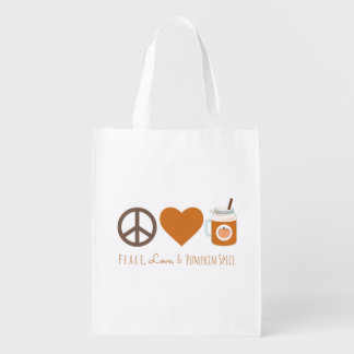 FriedensLiebe-u. -kürbis-Gewürz-Fall-Tasche Wiederverwendbare Einkaufstasche