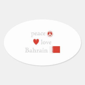 FriedensLiebe und -bahrain Ovaler Aufkleber