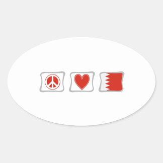 FriedensLiebe und Bahrain-Quadrate Ovaler Aufkleber