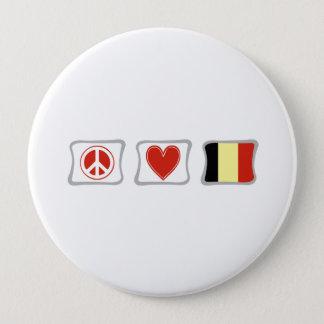 FriedensLiebe und Belgien-Quadrate Runder Button 10,2 Cm