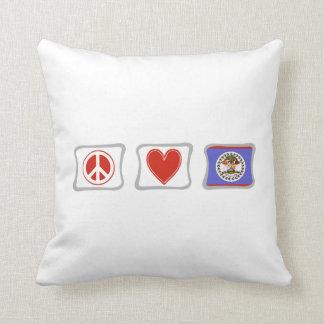 FriedensLiebe und Belize-Quadrate Kissen