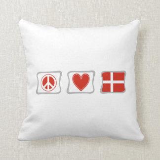 FriedensLiebe und Dänemark-Quadrate Kissen