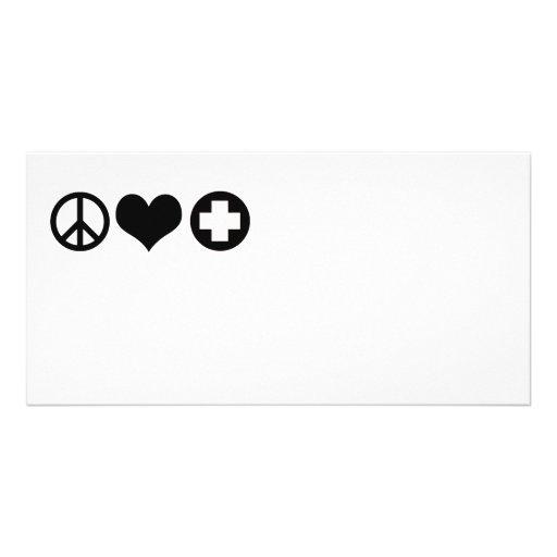 FriedensLiebe- und -gesundheitswesenschwarzes Photo Grußkarte