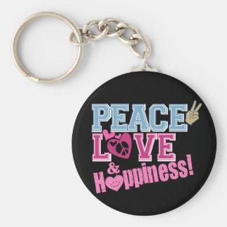 FriedensLiebe und -glück Standard Runder Schlüsselanhänger