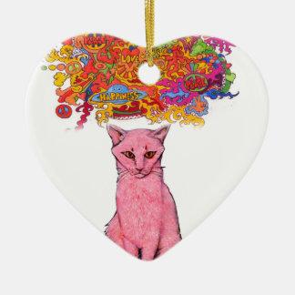 FriedensLiebe und GlückKitty Keramik Herz-Ornament
