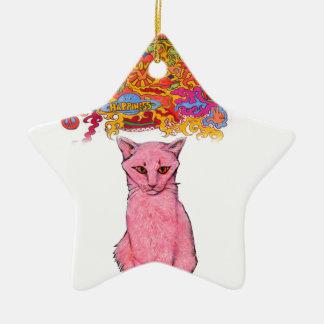 FriedensLiebe und GlückKitty Keramik Stern-Ornament