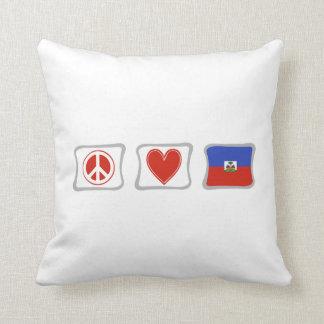 FriedensLiebe und Haiti-Quadrate Kissen