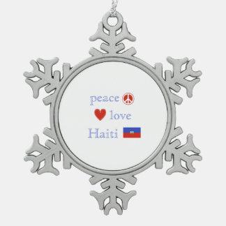 FriedensLiebe und -haiti Schneeflocken Zinn-Ornament