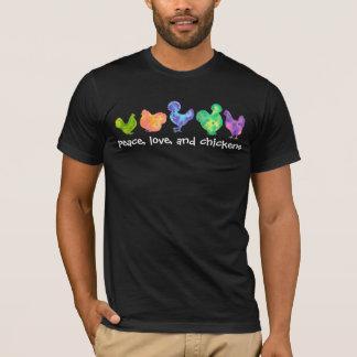 FriedensLiebe und Hühner Watercolor T-Shirt