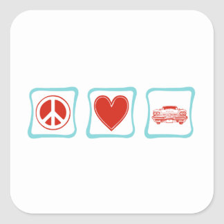 FriedensLiebe und klassische Autos Quadratischer Aufkleber