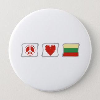 FriedensLiebe und Litauen-Quadrate Runder Button 10,2 Cm