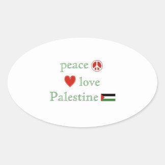 FriedensLiebe und -palästina Ovaler Aufkleber