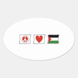 FriedensLiebe und Palästina-Quadrate Ovaler Aufkleber