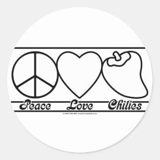 FriedensLiebe und -paprikas Runder Aufkleber