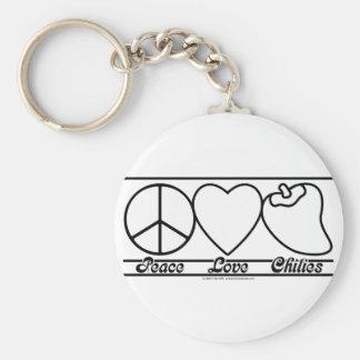 FriedensLiebe und -paprikas Standard Runder Schlüsselanhänger