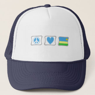 FriedensLiebe und Ruanda-Quadrate Truckerkappe