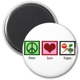 FriedensLiebe vegan Runder Magnet 5,1 Cm