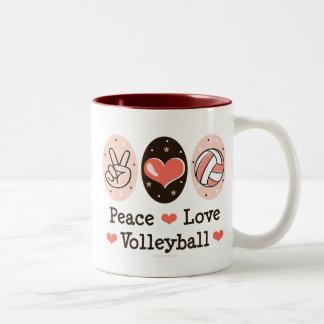 FriedensLiebe-Volleyball-Tasse Zweifarbige Tasse