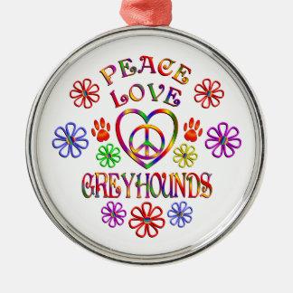 FriedensLiebe-Windhunde Silbernes Ornament