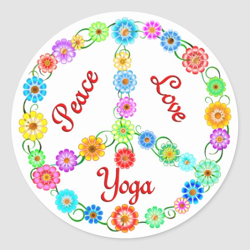 FriedensLiebe-Yoga Runde Sticker