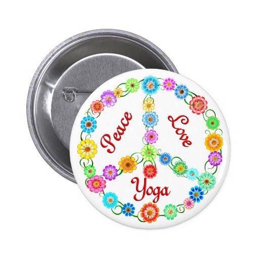 FriedensLiebe-Yoga Anstecknadelbuttons