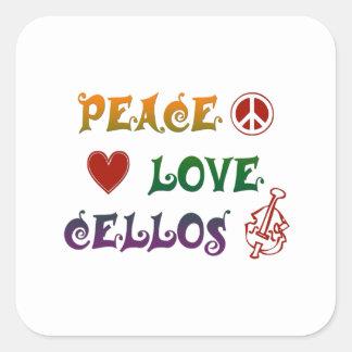 FriedensLiebeCellosregenbogen Quadratischer Aufkleber