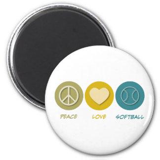 FriedensLiebeSoftball Runder Magnet 5,7 Cm