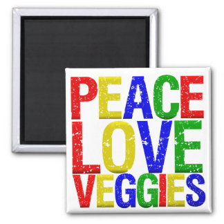 FriedensLiebeVeggies Quadratischer Magnet