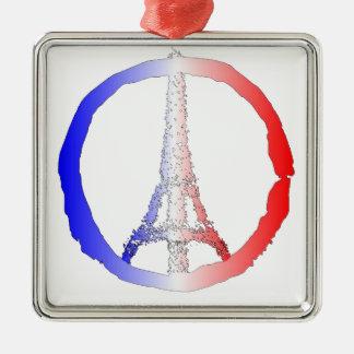 Friedenslogo des Eiffelturms Quadratisches Silberfarbenes Ornament