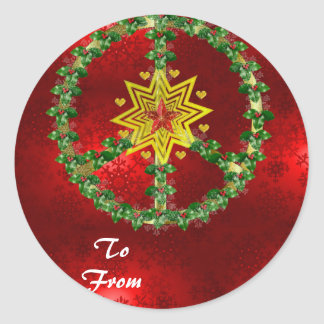 Friedensstern-Weihnachten Runde Aufkleber