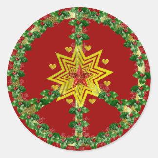 Friedensstern-Weihnachten Runder Sticker