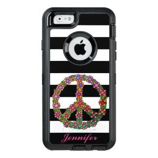 Friedenssymbol-Blumen-Schwarz-weiße mit OtterBox iPhone 6/6s Hülle