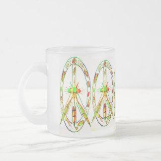 Friedenssymbol Glas gefärbt Matte Glastasse