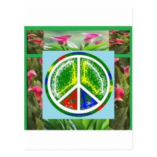 FRIEDENSsymbol:  Grüne künstlerische Blumen Postkarten