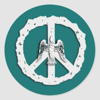 Friedenssymbol-u. -tauben-Aufkleber Runder Aufkleber