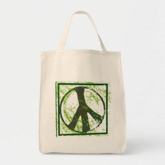 Friedenssymbolgrunge-Bio Einkaufstasche