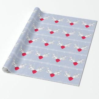 Friedenstauben-Herz-Schneeflocke-Vögel Geschenkpapier