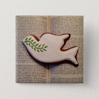 Friedenstauben-Knopf Quadratischer Button 5,1 Cm