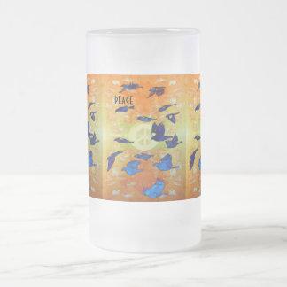 Friedensvögel Mattglas Bierglas