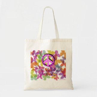 Friedenswort-Symbol und Schmetterlinge Budget Stoffbeutel