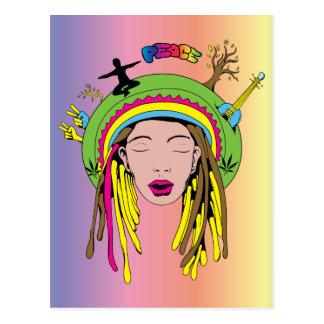 Friedenszeichen ~ 60er Hippie-Mädchen-gefärbte Postkarte