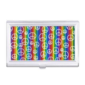 Friedenszeichen-Blasen-Visitenkarte-Halter Visitenkarten Etui