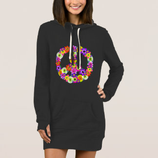 Friedenszeichen-Blumenausschnitt Kleid