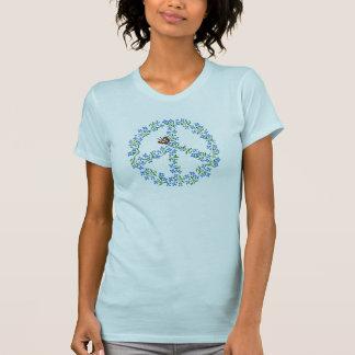 Friedenszeichen des Blumen-T - Shirt - blauer