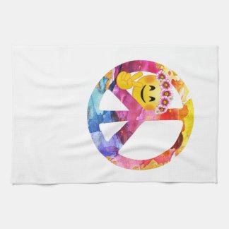 Friedenszeichen, Hippieemoticon-Aquarell-Kunst Geschirrtuch