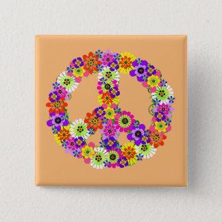 Friedenszeichen mit Blumen auf Pfirsich Quadratischer Button 5,1 Cm