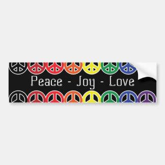 Friedenszeichen-Regenbogen auf schwarzer Autoaufkleber