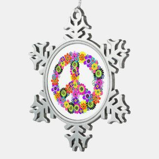 Friedenszeichen Schneeflocken Zinn-Ornament