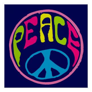 Friedenszeichenpsychedelische Hippie-Art Poster